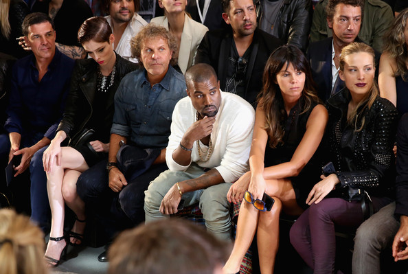 (2nd from L-R) Model Coco Rocha, designer Renzo Rosso, musician Kanye West and Petra Nemcova (R) attend the Diesel Black Gold fashion show during Mercedes-Benz Fashion Week Spring 2014 at Vanderbilt Hall at Grand Central Terminal on September 10, 2013 in New York City