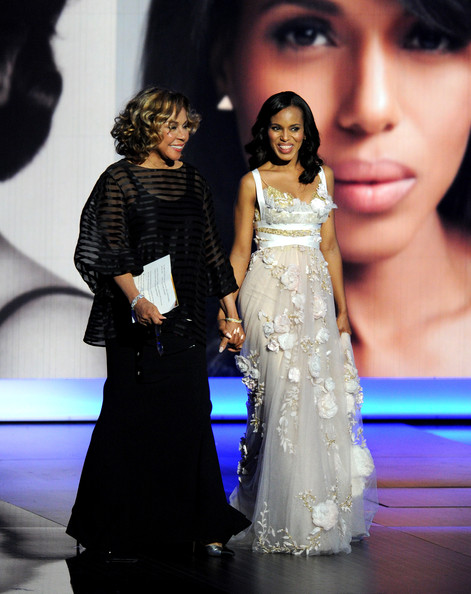 Actresses Diahann Carroll (L) and Kerry Washington speak onstage during the 65th Annual Primetime Emmy Awards held at Nokia Theatre L.A. Live on September 22, 2013 in Los Angeles