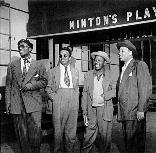 Minton's Playhouse, September 1947 – William J. Gottlieb » Thelonious Monk, Howard McGhee, Roy Eldridge, and Teddy Hill, Minton's Playhouse, New York, N.Y.Set. 1947