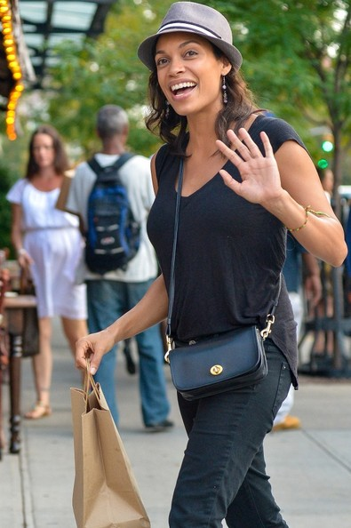 Rosario Dawson is all smiles in downtown Manhattan on August 23, 2013