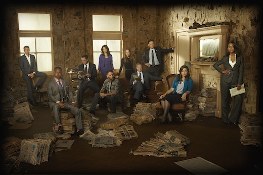 Scandal Season 3 promo photo:Scott Foley, Columbus Short, Joshua Malina, Bellamy Young, Guillermo Diaz, Darby Stanchfield, Jeff Perry, Tony Goldwyn, Katie Lowes, Kerry Washington