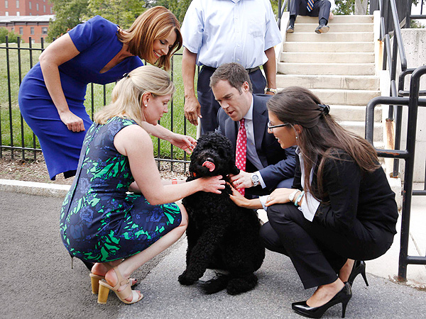 Savannah Guthrie (far left) and Peter Alexander greet Sunny outside the White House briefing room
