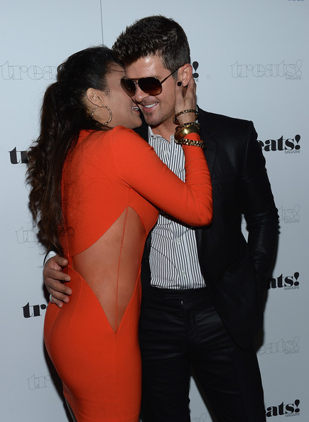 "Paula Patton and Robin Thicke attend Robin Thicke ""Blurred Lines"" Record Release Party at No. 8 on September 4, 2013 in New York City"