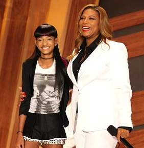 "Queen Latifah with guest Willow Smith on the premiere of ""The Queen Latifah Show"""