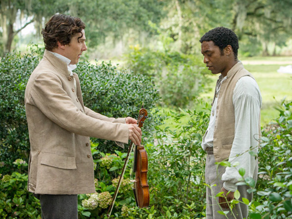 A kindness offered in the midst of ugliness: A slave owner gives Solomon the gift of a violin.