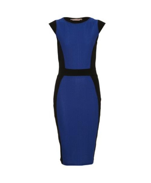 AWEAR-Blue-Mixed-Fabric-Pencil-Dress