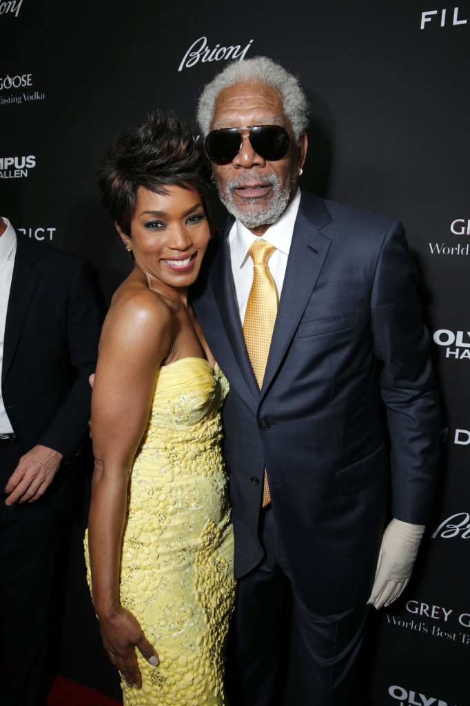 "Angela Bassett and Morgan Freeman attend the red carpet premiere of ""Olympus Has Fallen"" at the ArcLight Cinemas in Hollywood (March 20, 2013)"