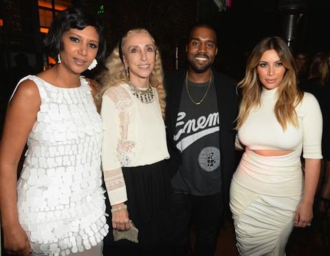 Host Gelila Assefa Puck, Franca Sozzani, Kanye West and Kim Kardashian attend Dream for Future Africa Foundation Inaugural Gala honoring Franca Sozzani of VOGUE Italia at Spago on October 24, 2013 in Beverly Hills, California.