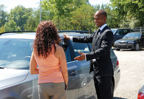 black car salesman