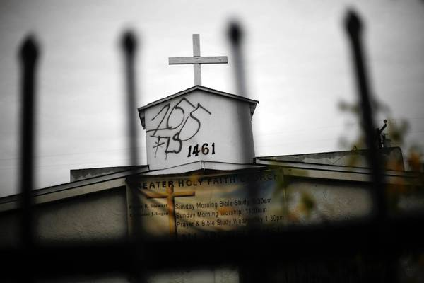 Graffiti marred church in Compton