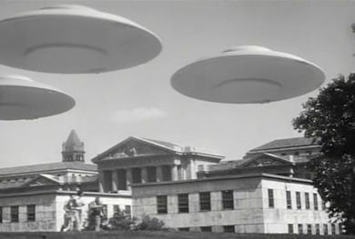 flying saucers (over bulding)