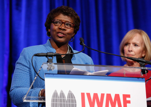 Journalist Gwen Ifill (L) and Managing Editor at PBS NewsHour Judy Woodruff speak onstage at the International Women's Media Foundation's 2013 Courage In Journalism And Lifetime Achievement Awards at Cipriani 42nd Street on October 23, 2013 in New York City.