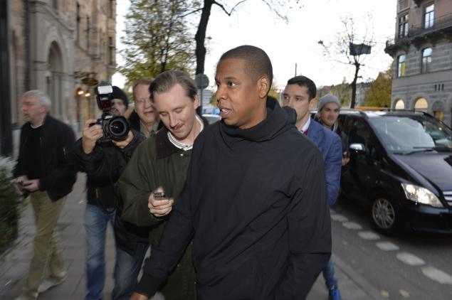 'Jay Z is not allowed to speak on this matter,' said one of the 43-year-old rappers' handlers when he was peppered with questions in Stockholm, Sweden.