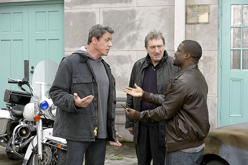 Sylvester stallone left robert de niro and kevin hart star in the