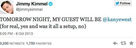 kimmel kanye guest on show tweet