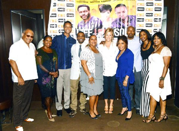 Cast and producers of LIFE LOVE SOUL are pictured at the DVD Release Party in Times Square in New York City (Left to Right) Bob Tate Sandy Tate Jian Pierre Rice Robbie Tate-Brickle Dedra N. Tate Tamara Fay Valerie Simpson Noel & Latisha Calloway Jeanine Tate