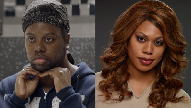 "M. Lamar (L) and his transgender twin sister Laverne Cox of the Netflix original series ""Orange is the New Black"""