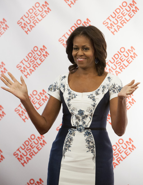 U.S. first lady Michelle Obama arrives for a luncheon hosting first ladies at the Studio Museum in Harlem September 24, 2013 in the Manhattan borough of New York City.
