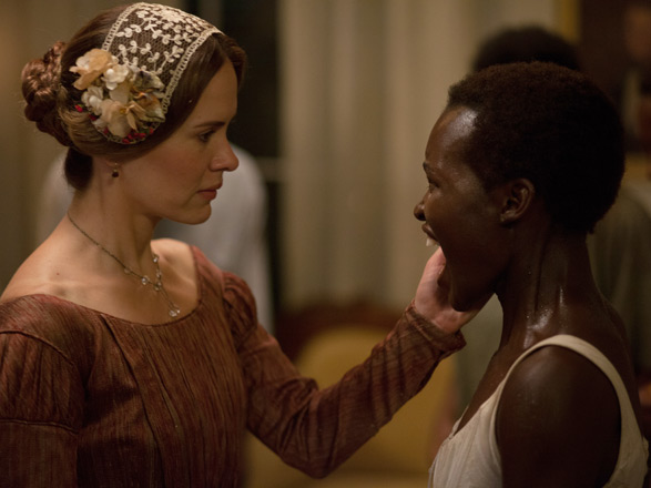 "Sarah Paulson as Mary Epps and Lupita Nyong'o as Patsey, a slave on the Epps plantation, in ""12 Years a Slave"""