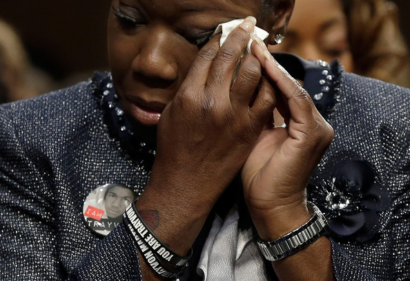 "Sybrina Fulton of Miami, Fla., mother of Trayvon Martin, testifies during a Senate Judiciary Committee hearing on ""Stand Your Ground"" laws October 29, 2013 in Washington, DC."
