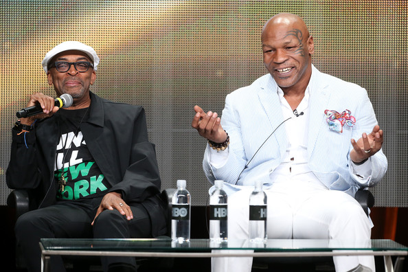 """Director Spike Lee (L) and Mike Tyson speak onstage during the """"Mike Tyson: Undisputed Truthts"""" panel discussion at the HBO portion of the 2013 Summer Television Critics Association tour - Day 2 at the Beverly Hilton Hotel on July 25, 2013 in Beverly Hills"""