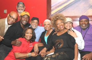 From left: Ian Foxx, Terry Gordy, Louis Price, Iris Gordy. Berry Gordy, Edna Owens, Thelma Houston, Debbie Allen, and Larry Ball