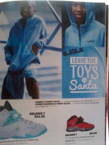 Hobbs in the Finish Line Holiday catalog pictured in the Baby-blue hootie jacket.