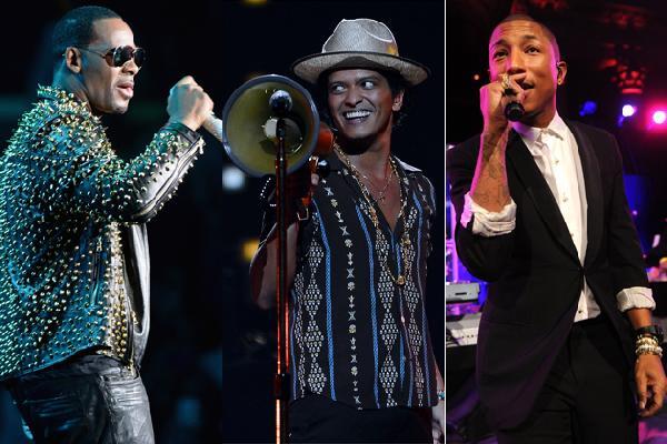 R Kelly, Bruno Mars and Pharrell Williams