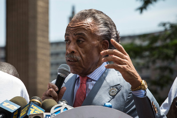 The Reverend Al Sharpton speaks at a rally he organized in response to the non-guilty verdict for George Zimmerman regarding the killing of Trayvon Martin on July 20, 2013 in New York City
