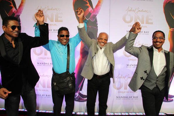 Berry Gordy and The Jacksons celebrate the late Michael Jackson's show, One, in Las Vegas.