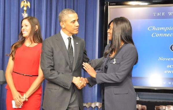 President Obama and Daphne Bradford