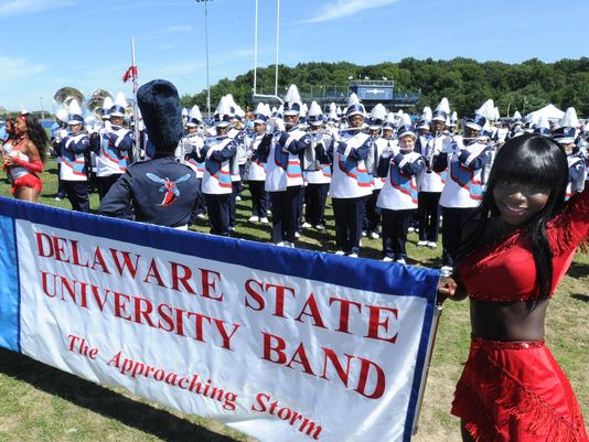Delaware State University's band, shown here before a Sept. 7, 2013, game, was suspended Nov. 14 after hazing allegations.