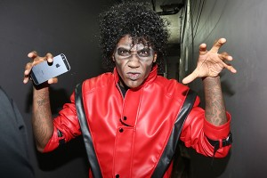 You'd never guess... but this is Fabolous dressed as the King of Pop.