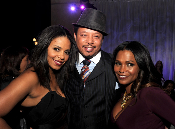 (L-R) Actors Sanaa Lathan, Terrence Howard and Nia Long pose at the after party for the premiere of Universal Pictures' 'The Best Man Holiday' at the Roosevelt Hotel on November 5, 2013 in Los Angeles