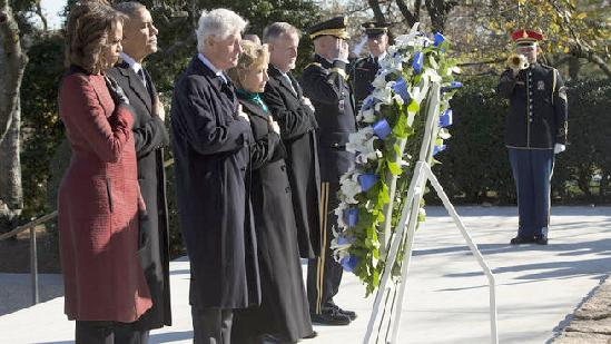 obama michelle & clintons (jfk memorial)