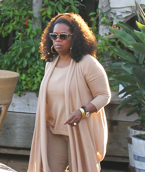 Journalist Maria Shriver celebrates her 58th birthday at Geoffrey's in Malibu, California with her family and famous TV host Oprah Winfrey on November 6, 2013