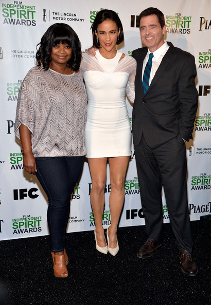 (L-R) Actresses Octavia Spencer and Paula Patton and Film Independent President Josh Welsh attend the 2014 Film Independent Spirit Awards Nominations Press Conference at W Hollywood on November 26, 2013 in Hollywood