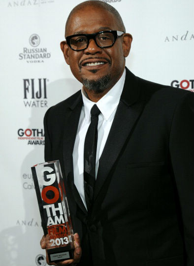Forest Whitaker poses with his Gotham Award