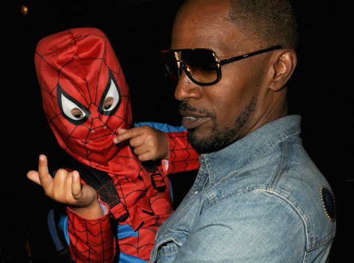 Jamie Foxx and his daughter Annalise in her favorite superhero outfit.
