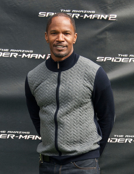 "Actor Jamie Foxx poses at ""The Amazing Spiderman 2"" Los Angeles Photo Call at Sony Pictures Studios on November 16, 2013 in Culver City"