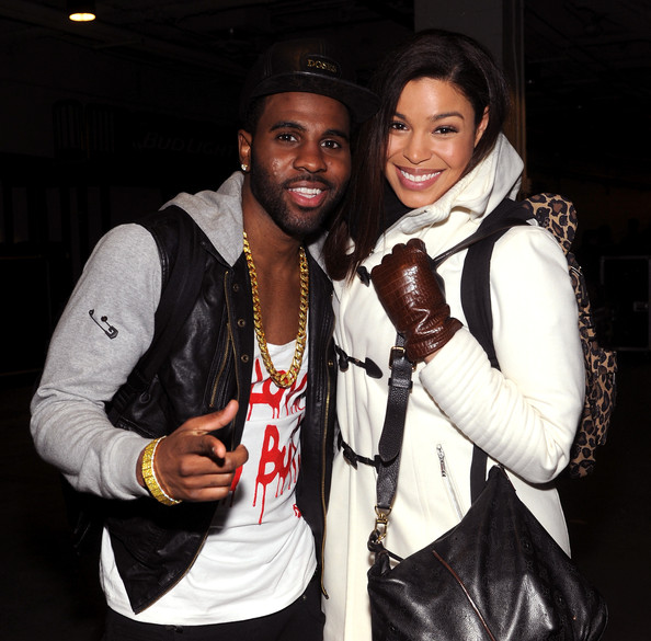 Jason Derulo (L) and Jordin Sparks pose backstage at Z100's Jingle Ball 2013, presented by Aeropostale, at Madison Square Garden on December 13, 2013 in New York City