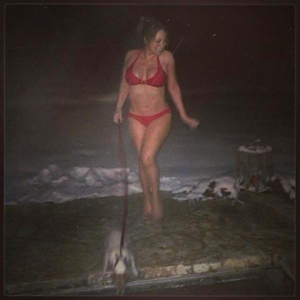 mariah carey (bikini & dog)