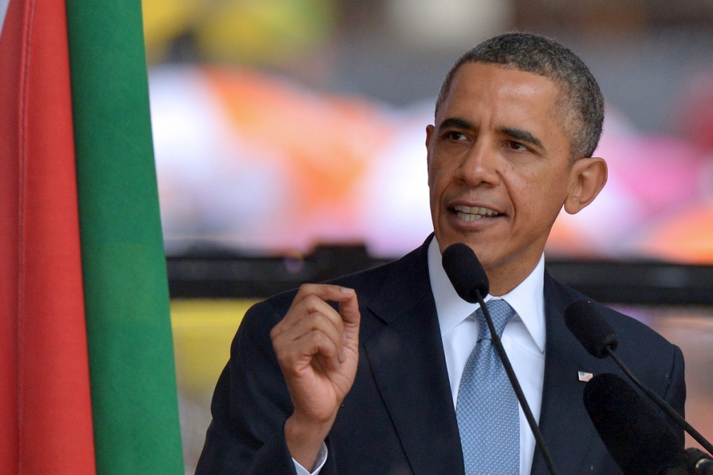 President Barack Obama delivers a speech during the memorial service for late South African President Nelson Mandela at Soccer City Stadium in Johannesburg to on December 10, 2013