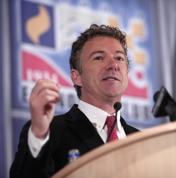 """U.S. Sen. Rand Paul (R-KY) delivers a speech titled, """"Renewing the Opportunity for Prosperity: Economic Freedom Zones"""" at the Detroit Economic Club December 6, 2013 in Detroit, Michigan. As part of his plan to help save Detroit, the largest city in U.S. history to go bankrupt, and other economically depressed areas, the Senator will introduce legislation that will create so-called """"economic freedom zones"""" by lowering taxes in those areas and change the Visa rules to help make it easier for foreign entrepreneurs to immigrate to economically depressed cities."""