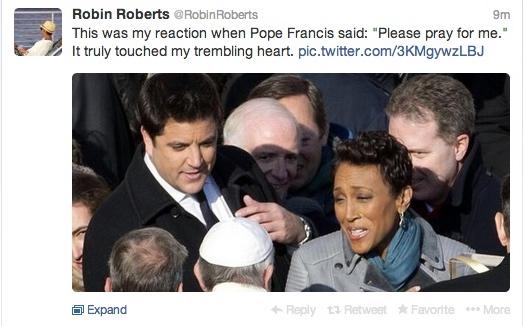 robin roberts tweet at the vatican