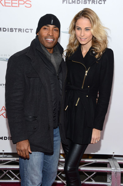 "Tiki Barber and Traci Lynn Johnson attend FilmDistrict and Chrysler with the Cinema Society Premiere of ""Playing For Keeps"" at AMC Lincoln Square Theater on December 5, 2012 in New York City"