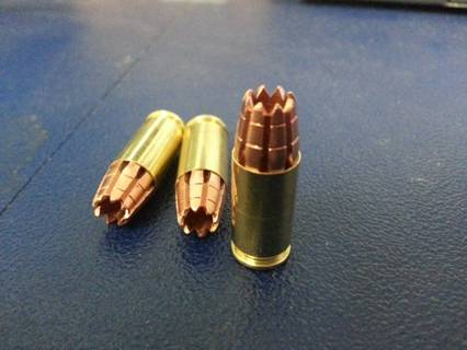 Upon impact, this bullet, designed to inflict suffering, disperses nine needles throughout the target's body.