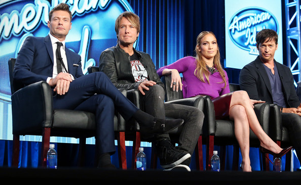 "(L-R) Ryan Seacrest, Keith Urban, Jennifer Lopez, and Harry Connick, Jr., of the television show ""American Idol"" speak during the FOX portion of the 2014 Television Critics Association Press Tour at the Langham Hotel on January 13, 2014 in Pasadena, California"