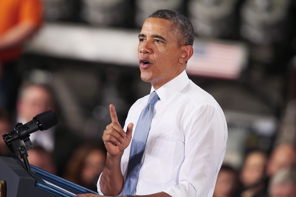 President Barack Obama speaks to guests gathered for a rally at General Electric's Waukesha gas engines plant on January 30, 2014 in Waukesha, Wisconsin