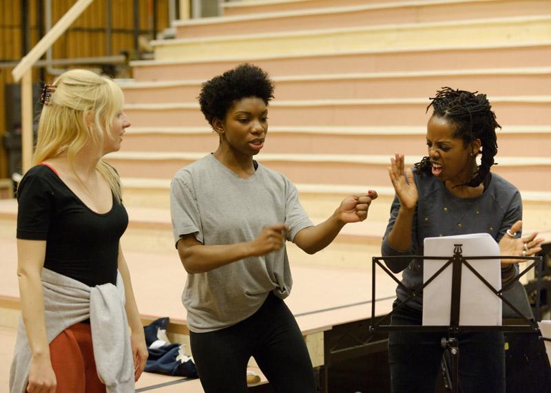 Blurred Lines Rehearsal: Sinéad Matthews, Michaela Coel and Lorna Brown